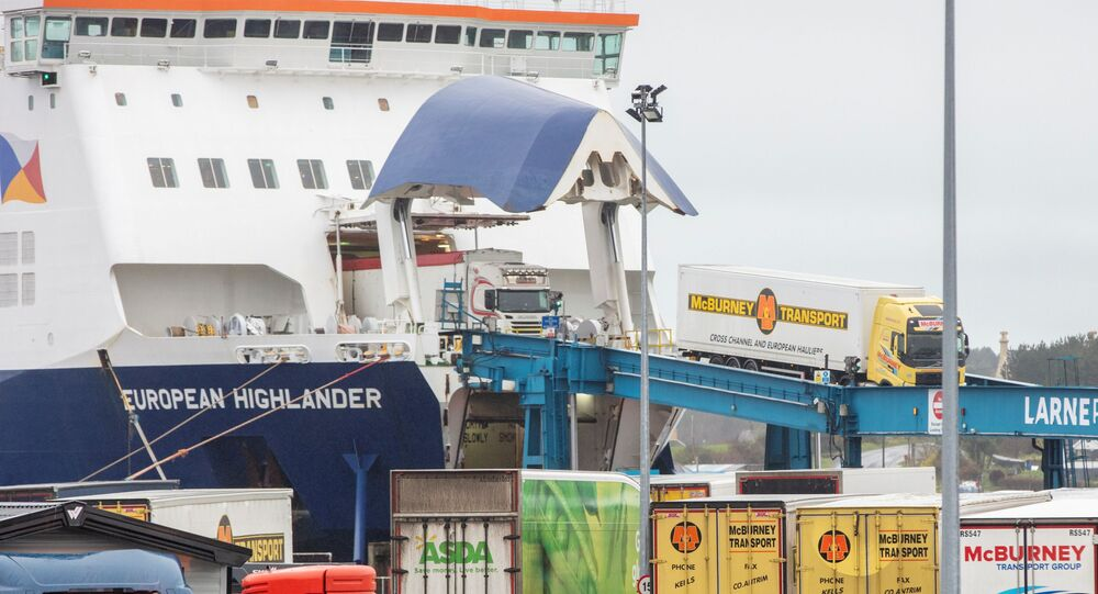 A P&0 ferry arrives at the Port of Larne in County Antrim, Northern Ireland on February 2, 2021. - The British government condemned threats to port workers implementing post-Brexit trade checks in Northern Ireland and called for clear heads to ease tensions.