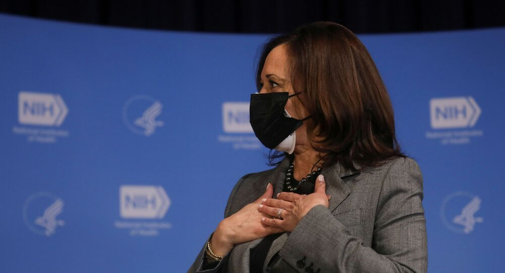 U.S. Vice President Kamala Harris reacts after receiving her second dose of the Moderna coronavirus disease (COVID-19) vaccine at the National Institutes of Health in Bethesda, Maryland, U.S. January 26, 2021. REUTERS/Leah Millis