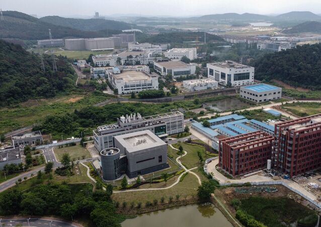 This aerial view shows the P4 laboratory (centre L) on the campus of the Wuhan Institute of Virology in Wuhan in China's central Hubei province on May 27, 2020.