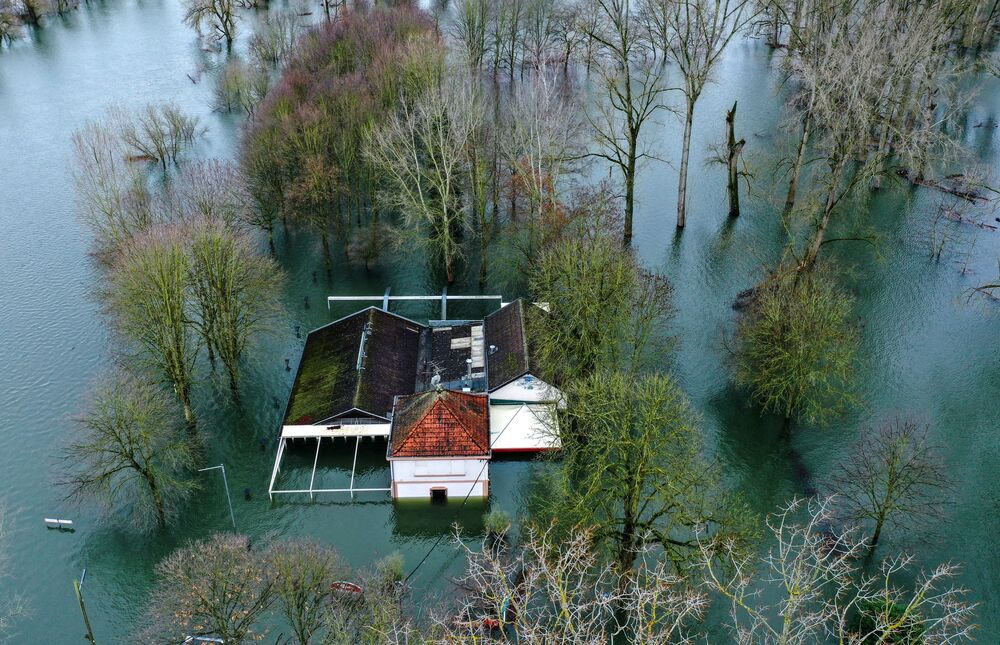An aerial view taken on 3 February 2021 shows a flooded restaurant near the Sieg River in Mondorf, western Germany after the nearby Rhine River burst its banks.