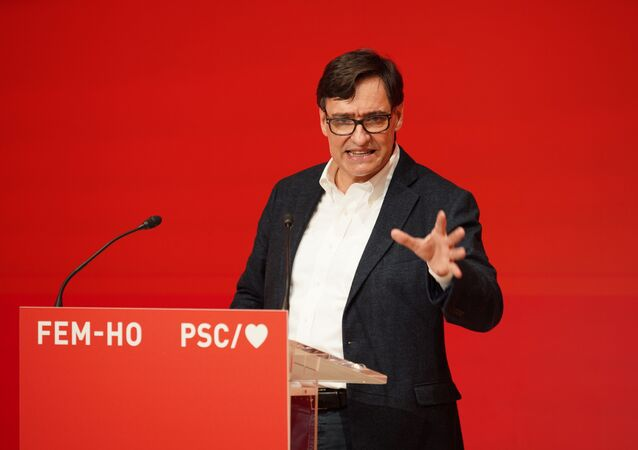 Candidate for the regional government of Catalonia from the Socialist Party of Catalonia (PSC) Salvador Illa, takes part in a meeting ahead of the Catalan elections on February 14, during the coronavirus disease (COVID-19) outbreak, in Barcelona, Spain, January 28, 2021.