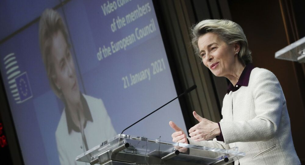 European Commission President Ursula von der Leyen speaks during a joint news conference with European Council President Charles Michel at the end of a EU summit video conference at the European Council headquarters in Brussels, Thursday, Jan. 21, 2021.