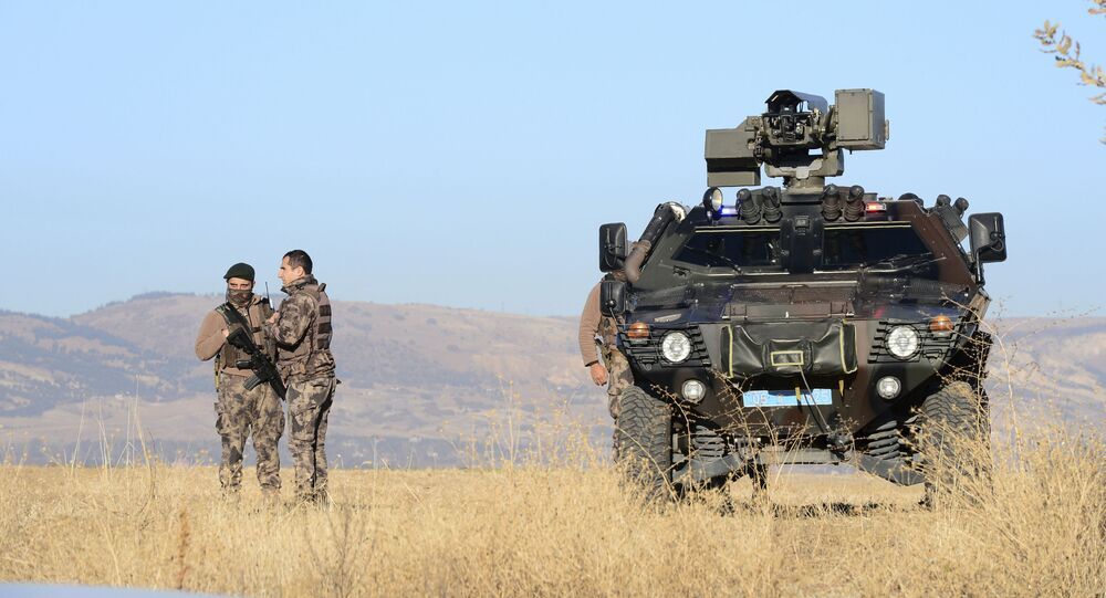 Members of special security forces survey the area outside of a courthouse before the trial of 475 defendants, including generals and fighter jet pilots, in Sincan, Ankara, Turkey, Thursday, Nov. 26, 2020.