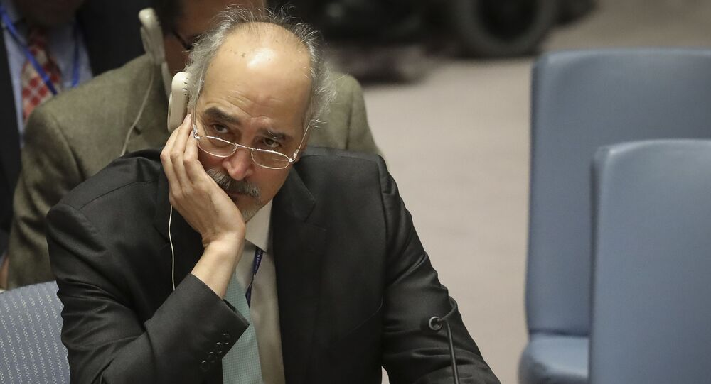 Syrian United Nations Ambassador Bashar al-Jaafari listens during a meeting on Syria at the United Nations Security Council, Monday Nov. 19, 2018 at U.N. headquarters.