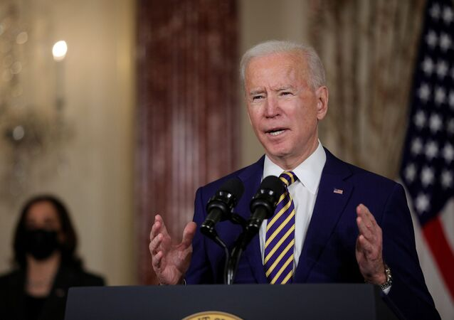 U.S. President Joe Biden delivers a foreign policy address as Vice President Kamala Harris listens during a visit to the State Department in Washington, U.S., February 4, 2021