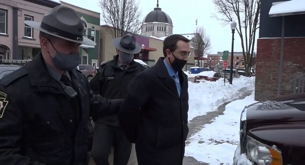 A screenshot from the video of Bradford County, PA District Attorney Chad Salsman apprehension, posted on Twitter February 5, 2021