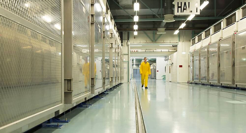 A handout picture released by Iran's Atomic Energy Organization on November 6, 2019, shows the interior of the Fordo (Fordow) Uranium Conversion Facility in Qom, in the north of the country.