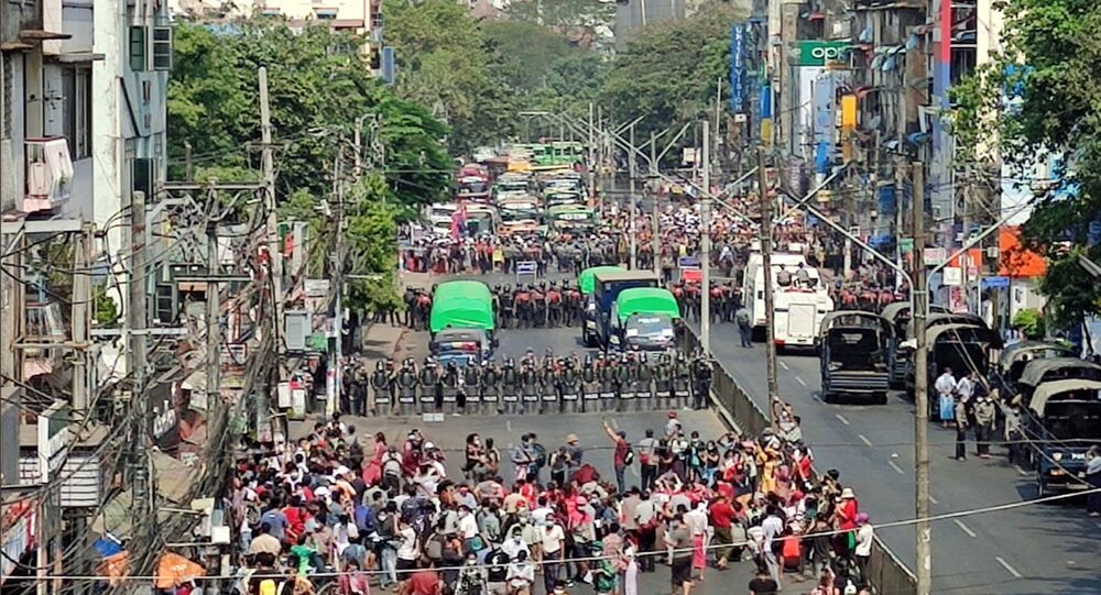 General view of a demonstration against the military coup in Yangon, Myanmar, 6 February 2021. Myanmar Now/Handout via REUTERS