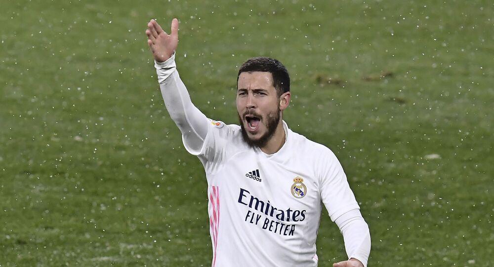 Real Madrid's Eden Hazard protests during a Spanish La Liga soccer match.