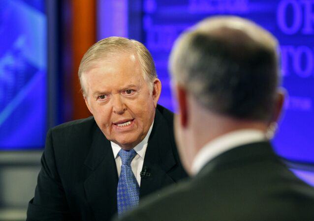 In this Monday, Nov. 16, 2009 file photo, Lou Dobbs,  left, speaks with Bill O'Reilly during taping a segment for Fox News channel's The O'Reilly Factor, in New York.