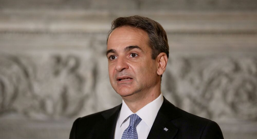 Greek Prime Minister Kyriakos Mitsotakis speaks during a joint news conference with Egyptian President Abdel Fattah al-Sisi at Maximos Mansion in Athens, Greece, November 11, 2020.