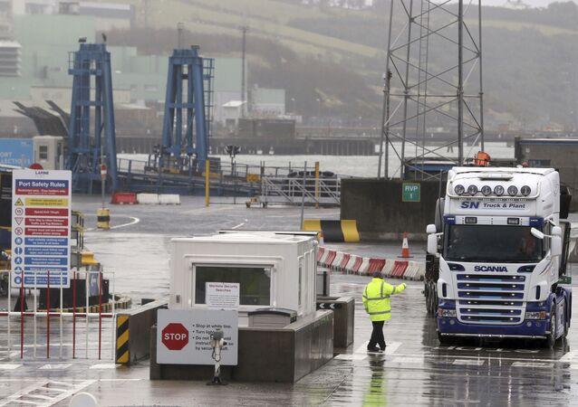 Trucks leaving Larne Port, in Belfast, Northern Ireland, Wednesday, Feb. 3, 2021