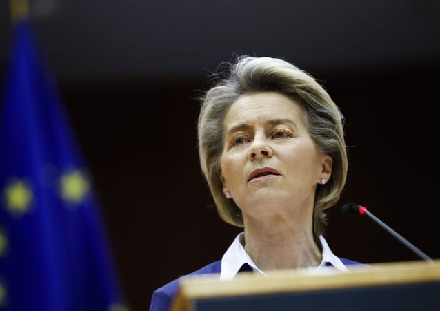 European Commission President Ursula Von Der Leyen addresses European lawmakers during a plenary session on the inauguration of the new President of the United States and the current political situation, at the European Parliament in Brussels, Wednesday, Jan. 20, 2021