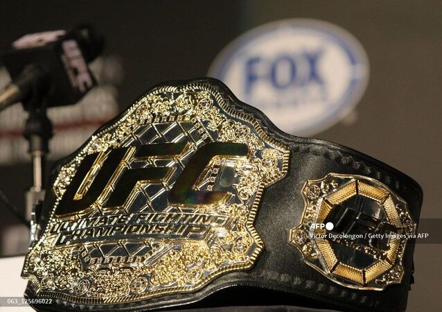 A detailed view of the UFC Championship belt prior to the UFC on Fox: Velasquez v Dos Santos - Press Conference at W Hollywood on September 20, 2011 in Hollywood, California.