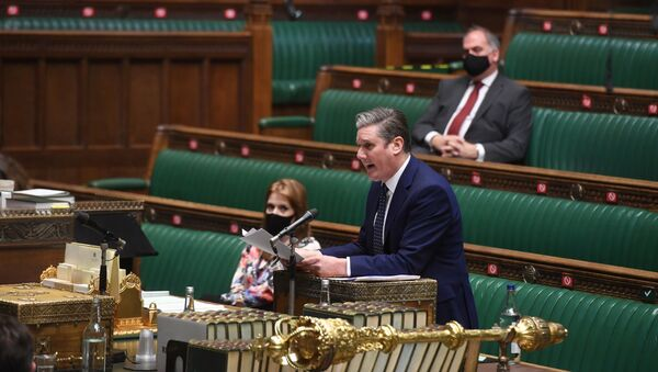 Britain's opposition Labour Party leader Keir Starmer speaks during question period at the House of Commons in London, Britain January 20, 2021 - Sputnik International