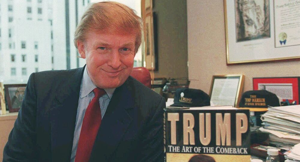 Donald Trump, the New York developer, poses in his Manhattan office beside a copy of his new book, Trump: The Art of the Comeback. Trump has been promoting the book, in which he tells how he returned from near bankruptcy to a personal net worth estimated at $1.4 billion by Forbes Magazin