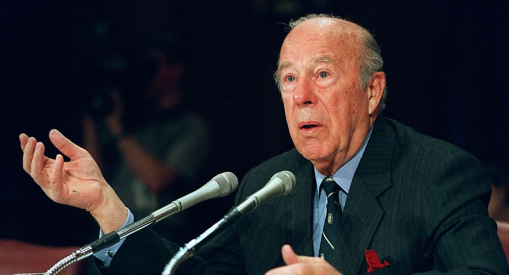 In this file photo former US Treasury Secretary and Secretary of State George Shultz testifies before the US Senate Foreign Relations Committee on February 29, 2000 on Capitol Hill in Washington, DC.