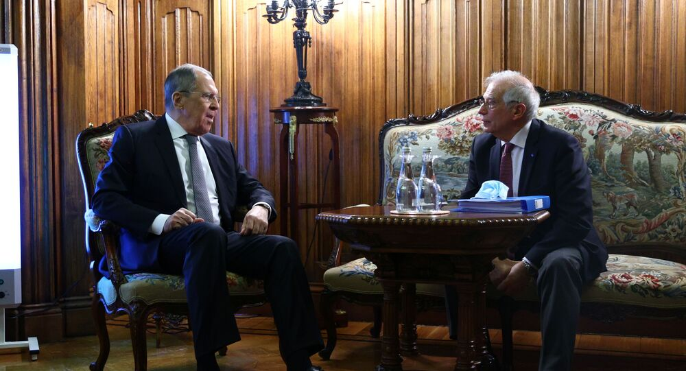 Russia's Foreign Minister Sergei Lavrov attends a meeting with European Union's foreign policy chief Josep Borrell in Moscow, Russia February 5, 2021.