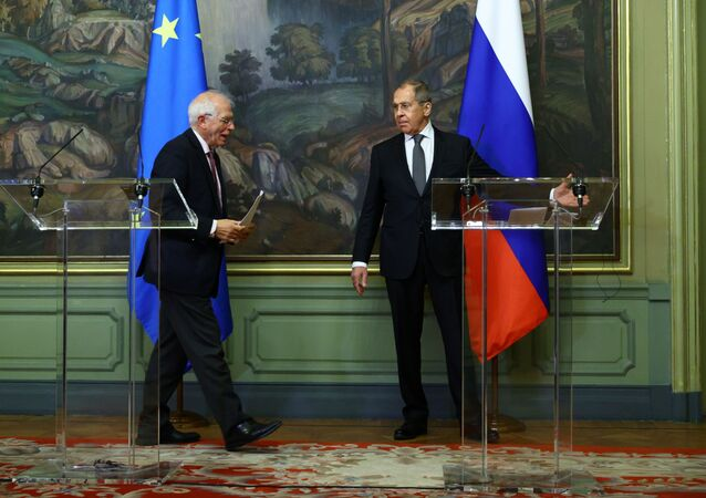 Russia's Foreign Minister Sergei Lavrov and European Union's foreign policy chief Josep Borrell attend a news conference following their talks in Moscow, Russia February 5, 2021.