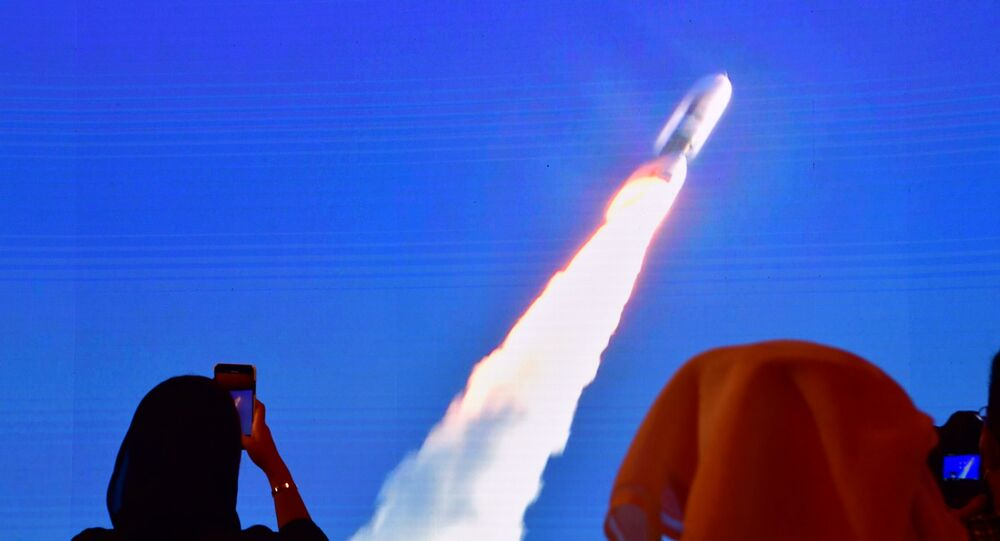 This file photo taken on July 20, 2020, shows a screen broadcasting the launch of the Hope Mars probe at the Mohammed Bin Rashid Space Centre in Dubai.