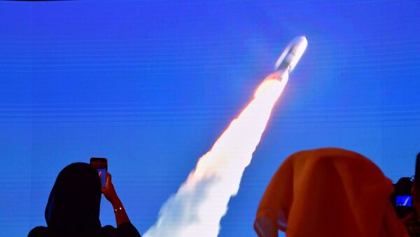 This file photo taken on July 20, 2020, shows a screen broadcasting the launch of the Hope Mars probe at the Mohammed Bin Rashid Space Centre in Dubai.  - Sputnik International