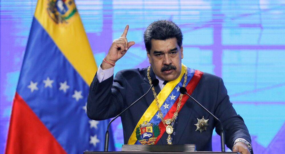 Venezuela's President Nicolas Maduro speaks during a ceremony marking the opening of the new court term in Caracas, Venezuela January 22, 2021.