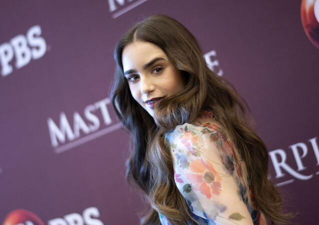 English-US actress Lily Collins attends the photo call for the PBS and BBC One television miniseries Les Miserables in Los Angeles on June 8, 2019