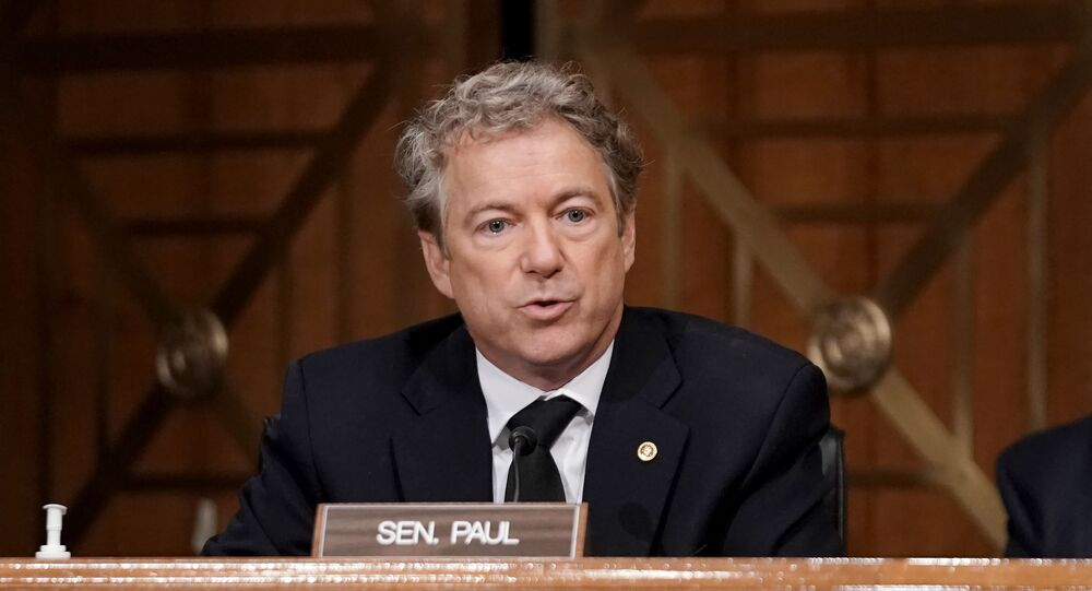Sen. Rand Paul (R-KY) asks questions during a Senate Homeland Security and Governmental Affairs Committee hearing to discuss election security and the 2020 election process on December 16, 2020 in Washington, DC.
