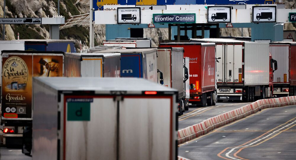 Lorries queue in at the border control of the Port of Dover, Britain, January 15, 2021