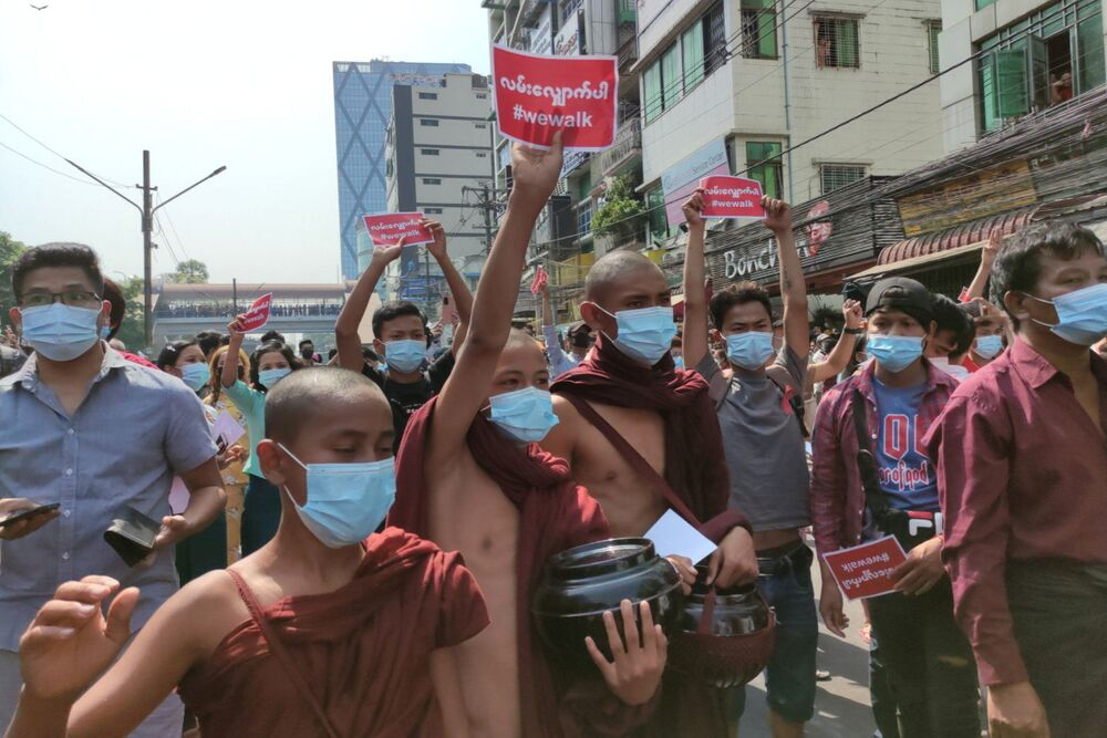 Buddhist monks take part in a protest against the military coup in Yangon, Myanmar 6 February 2021.