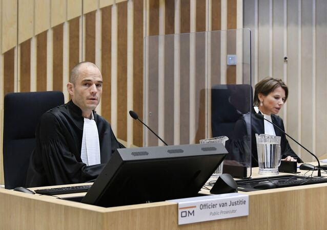 Public prosecutor Ward Ferdinandusse is seen in court as the trial resumed for three Russians and a Ukrainian charged with crimes including murder for their alleged roles in the shooting down of Malaysia Airlines Flight MH17 over eastern Ukraine in 2014, at the high security court building at Schiphol Airport, near Amsterdam, Monday, August 31, 2020.