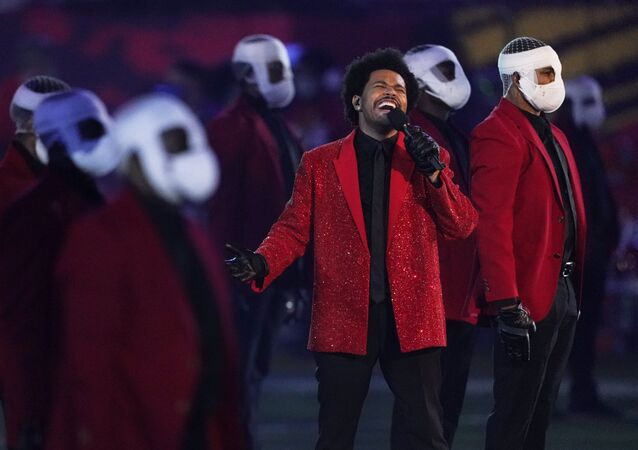 The Weeknd performs during the halftime show of the NFL Super Bowl 55 football game between the Kansas City Chiefs and Tampa Bay Buccaneers, Sunday, Feb. 7, 2021, in Tampa, Fla