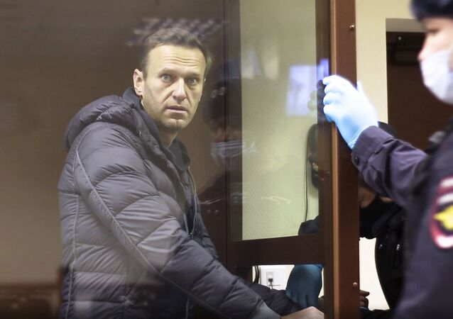 In this image made from video provided by the Babuskinsky District Court, Russian opposition leader Alexei Navalny stands in a cage during a hearing on his charges for defamation,  in the Babuskinsky District Court in Moscow, Russia, Friday, Feb. 5, 2021.