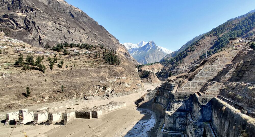 A view shows a damaged barrage after a part of a glacier broke away causing glacial flood in Chormi village in Tapovan, in the northern state of Uttarakhand, India, February 7, 2021.
