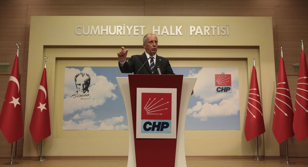 A day after elections, Muharrem Ince, the candidate of Turkey's main opposition Republican People's Party, talks during a news conference in Ankara, Turkey, Monday, June 25, 2018.