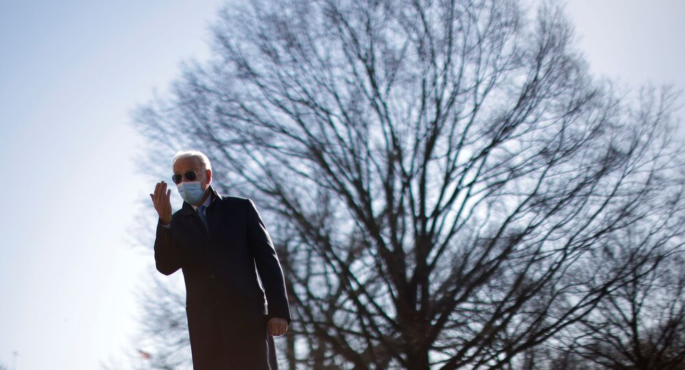 U.S. President Joe Biden reacts to a reporter's question as he arrives on the South Lawn at the White House in Washington, U.S., February 8, 2021