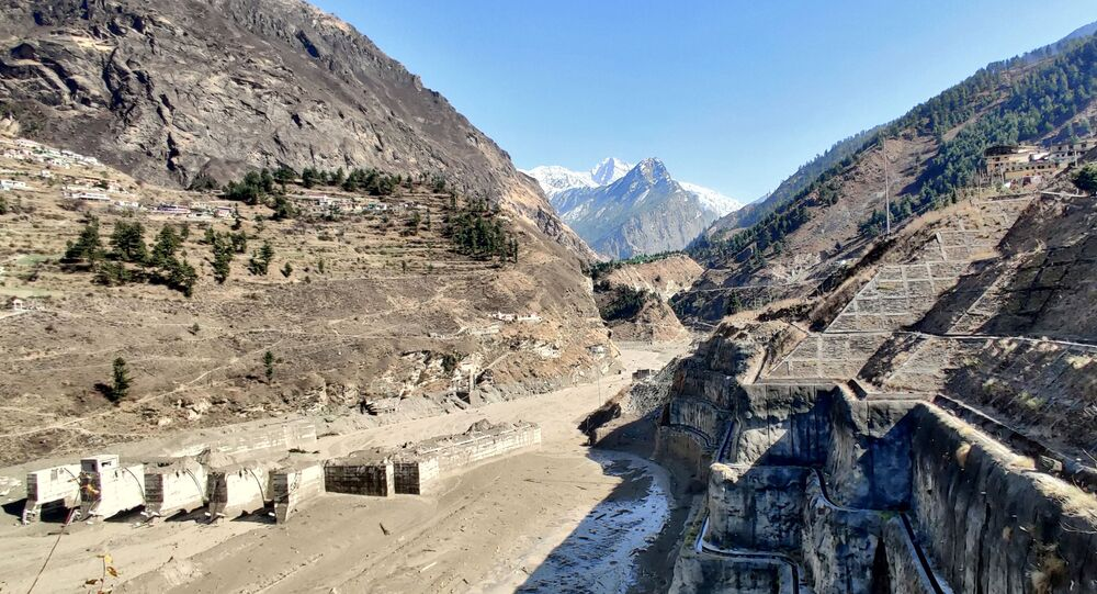 A view shows a damaged barrage after a part of a glacier broke away causing glacial flood in Chormi village in Tapovan, in the northern state of Uttarakhand, India, February 7, 2021. Picture taken February 7, 2021. REUTERS/Stringer NO ARCHIVES. NO RESALES.