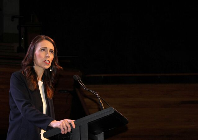 Prime Minister Jacinda Ardern addresses supporters at a Labour Party event in Wellington, New Zealand, October 11, 2020.