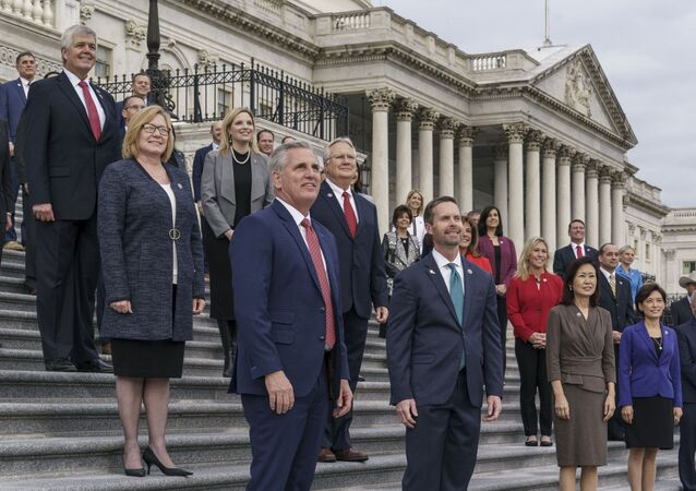 House Minority Leader Kevin McCarthy, R-Calif., welcomes freshman Republican members at the Capitol in Washington, Monday, Jan. 4, 2021. He is joined at right by Rep. Rodney Davis, R-Ill