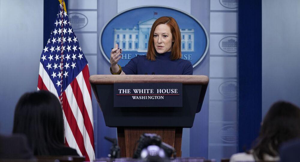White House press secretary Jen Psaki speaks during a press briefing at the White House, Monday, Feb. 8, 2021, in Washington