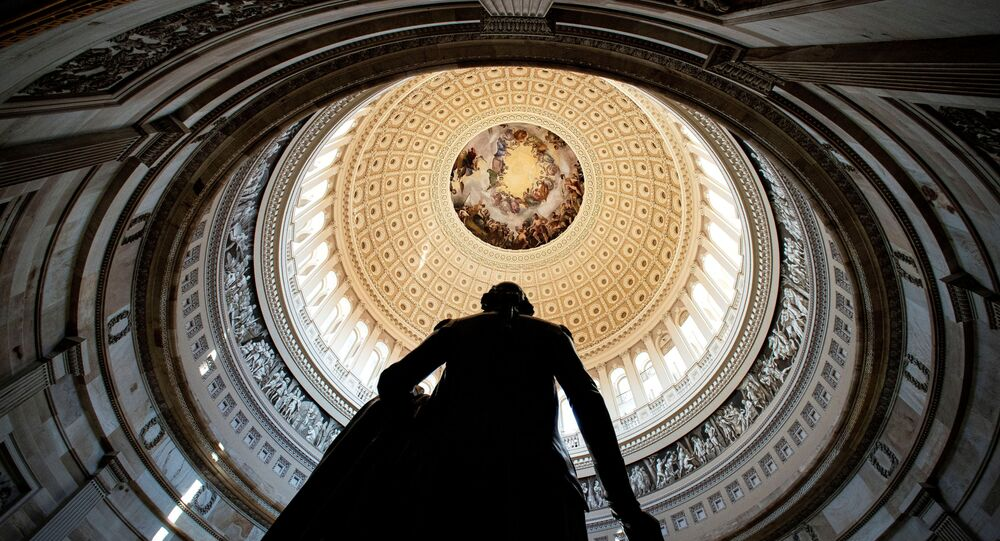 Rotunda of the U.S. Capitol is seen behind a statue of former President George Washington, before the second impeachment trial for former President Donald Trump, at the Capitol in Washington, U.S., February 9, 2021.