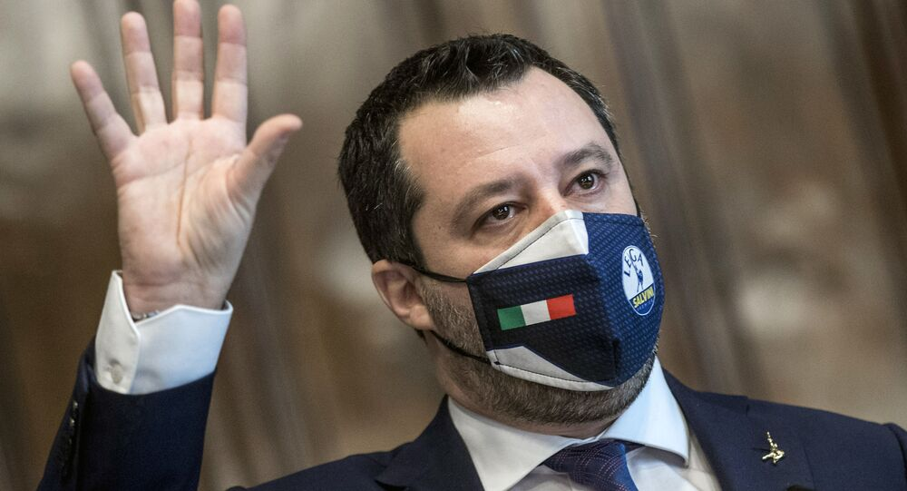 The League's Matteo Salvini addresses the media after meeting with Mario Draghi, at the Chamber of Deputies in Rome, Saturday, Feb. 6, 2021