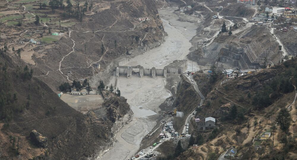 General view of the place where members of National Disaster Response Force (NDRF) conduct a rescue operation, after a part of a glacier broke away, in Tapovan in the northern state of Uttarakhand, India