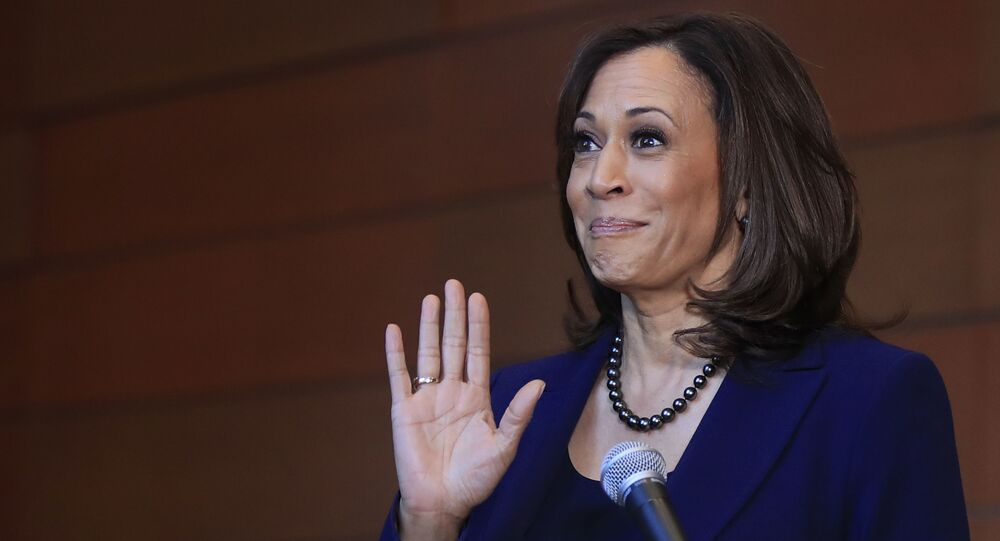 Sen. Kamala Harris, D-Calif., speaks to members of the media at her alma mater, Howard University, Monday, Jan. 21, 2019 in Washington, following her announcement earlier in the morning that she will run for president