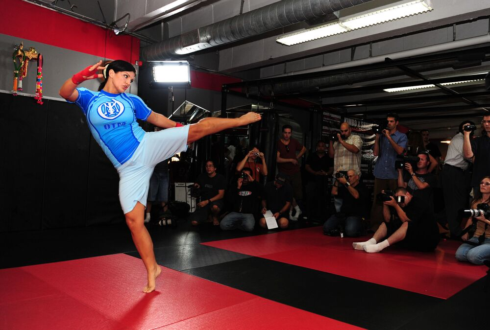 MMA Superstar Gina Carano is seen during the Workout/Media Day with Kimbo Slice and Gina Carano at the Legends Mixed Martial Arts Training Center on 17 September 2008 in Los Angeles, California.