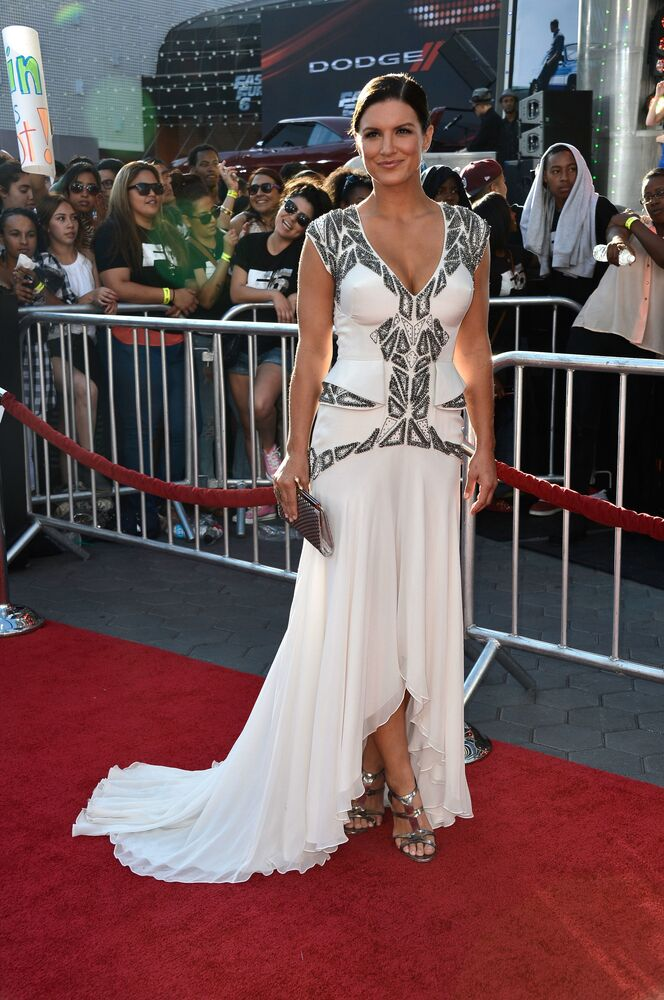 Actress Gina Carano arrives at the Premiere Of Universal Pictures' Fast & Furious 6 on 21 May 2013 in Universal City, California.