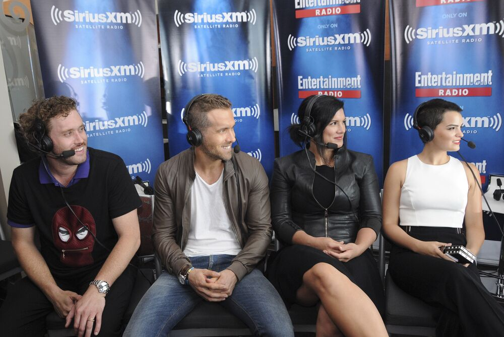 Actors T.J. Miller, Ryan Reynolds, Gina Carano and Brianna Hildebrand attend SiriusXM's Entertainment Weekly Radio Channel Broadcasts From Comic-Con 2015 at Hard Rock Hotel San Diego on 11 July 2015 in San Diego, California.