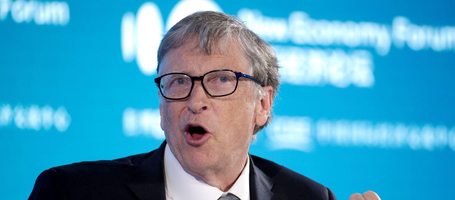 Bill Gates, Co-Chair of Bill & Melinda Gates Foundation, attends a conversation at the 2019 New Economy Forum in Beijing, China November 21, 2019 - Sputnik International, 1920, 11.02.2021