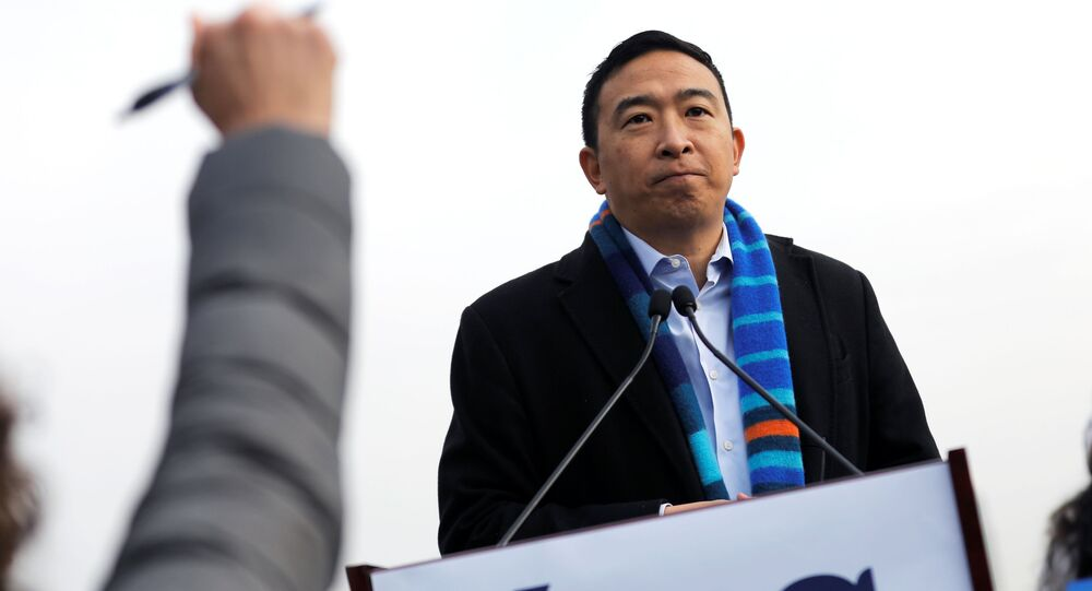 Former U.S. Democratic presidential candidate Andrew Yang speaks at an event announcing his candidacy for New York City Mayor in upper Manhattan in New York City, New York, U.S., January 14, 2021.