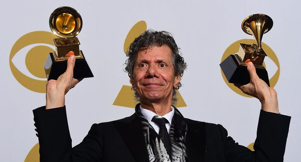 (FILES) In this file photo taken on February 08, 2015 Chick Corea holds his Grammy after winning Best Jazz Instrumental Album Trio, Fingerprints, in the press room during the 57th annual Grammy Awards in Los Angeles, California, - Chick Corea, the American jazz composer and electric keyboard pioneer, died February 9 of a rare form of cancer, according to a statement on his Facebook page. He was 79 years old. (Photo by Frederic J. BROWN / AFP)